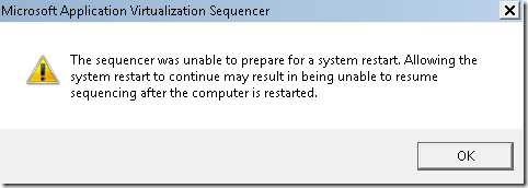 the sequencer was unable to prepare for a system restart.