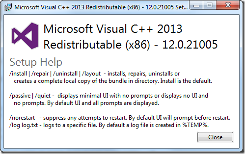 Visual C++ 2013 Silent install and MSI – The knack