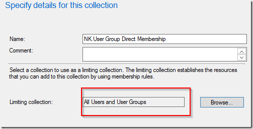 ConfigMgr–User collection and direct membership for Security