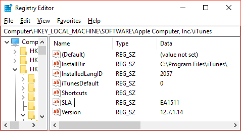 Apple Itunes 127 And Software License Agreement Registry Key The